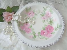 BIG ROMANTIC SILVER PLATE ROSE BOWL hp chic shabby vintage cottage hand painted  #VINTAGESILVERPLATE