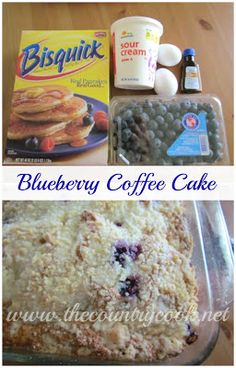 Easy Biscuit Blueberry Cake Easy Blueberry Coffee Cake I don't know of many berries that I don't absolutely love. I'm an equal opportunity berry lover. Köstliche Desserts, Delicious Desserts, Dessert Recipes, Yummy Food, Cake Recipes, Fun Food, Food Art, Breakfast Dishes, Breakfast Recipes