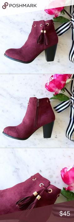 """NEW Burgundy Tassel Bootie 🌸BOUTIQUE ITEM🌺 New, in box. LIMITED TIME OFFER: Bundle 2 or more boutique listings and I'll send you a 25% discount!  Step into fall and hop on the tassel trend with these burgundy suede booties! Featuring golden grommets and woven detailing at the top, finished with two tiny gold-capped tassels. Zipper opening.  Approx. heel height 3"""" Shoes Ankle Boots & Booties"""