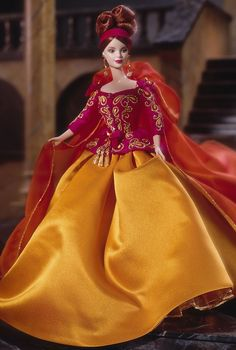 Proof that eye-popping color can be a very good thing, this Symphony in Chiffon™ Barbie® Doll is one of my favorites that I've revisited yet. I love her auburn red hair and green eyes. This one was designed by Robert Best. I guess I have thing for couture fashion (on dolls)? She retailed for $135, way out of my 1998 budget, though.