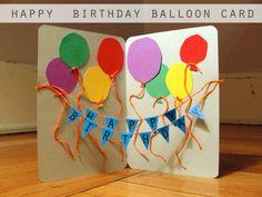 tarjetas de cumpleaños para una amiga, tarjeta de cumpleaños troquelada con papel kraft, globos y guirnalda de color