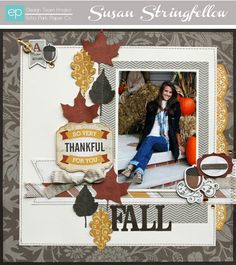Reflections: Fall Brooks Brooks Park Paper layout by Caron Caron Stringfellow Scrapbook Designs, Scrapbook Page Layouts, Diy Scrapbook, Photo Layouts, Scrapbooking Ideas, Scrapbook Generation, Halloween Scrapbook, Echo Park Paper, Fall Projects