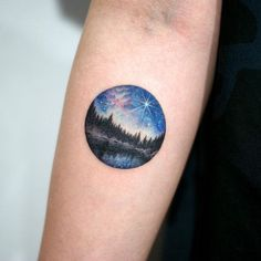 Night sky tattoo stars galaxy forest lake circle small peaceful                                                                                                                                                      More