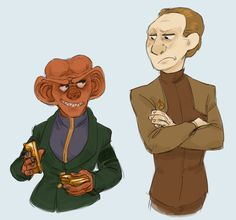 Quark and Constable Odo of Star Trek: Deep Space Nine Star Trek Tos, Star Wars, Deep Space 9, Star Trek Episodes, Star Trek Ships, Star Trek Universe, Cute Art, My Drawings, Sci Fi