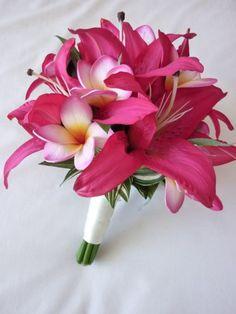 hot pink wedding bouquets | Hot Pink Oriental Bridal Bouquet artificial wedding bouquet