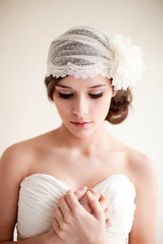 A Juliet cap veil looks stunning for an intimate vintage or country wedding