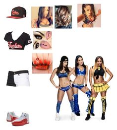 Kelly Bella w/ Nikki and Brie Bella vs Cameron by rxmybosslika on Polyvore featuring WWE