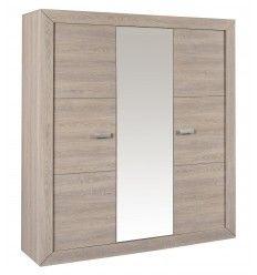 armoire 3 portes avec miroir au centre coloris chne naturel gris