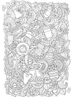Café y té doodle fondo de vector con paisley. Zentangle étnica patrón puede utilizarse para menú y fondos, rellenos de patrón, libros para colorear páginas para niños y adultos. Blanco y negro. — Vector de stock