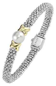 Free shipping and returns on LAGOS 'Luna' Pearl Rope Bracelet at Nordstrom.com. Crisscrossed stations frame the lone, lustrous pearl starring on a slender bracelet of tactile Caviar beads.