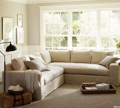 Q: I have been searching high and low for a small scale sectional sofa with bench seating — ideally something akin to Pottery Barn's Solano Sectional.  However, my dimensions have seriously hindered the process.  I can't go over 86 x 86.  Any suggestions?
