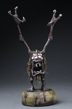 Dug Stanat 28 x 15 x 8 cm x 6 x 3 inches) mixed media and acrylic The Problem with Purple Clay Dolls, Art Dolls, Funny Monsters, Halloween Doll, Fantasy Miniatures, Creepy Art, Sculpture Clay, Little Monsters, Creature Design