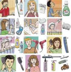 Part 1. List of vocabulary for personal hygiene for boys, girls and adults