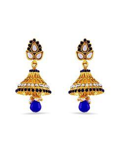 Blue Diamantes Jhumka with diamantes, pearls, crystal work. Item Code: JRUM618 http://www.bharatplaza.com/new-arrivals/jewellery.html