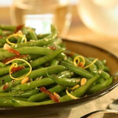Sizzled Green Beans with Crispy Prosciutto and Pine Nuts - from Eating Well Magazine. Delicious!!
