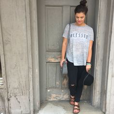 Blessed Tee, Boho Outfit of the Day. Cheetah Birkenstocks and Black Distressed Denim