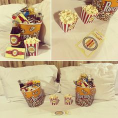 Movie night baskets for a cozy date night with my boyfriend. I used popcorn buckets, salted popcorn, sweet popcorn, nachos and dip, Coke, M&M's, Twizzlers, candy bars and of course.. The Dating Divas printables!