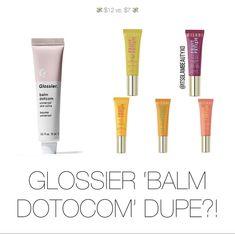 Beauty Dupes, Makeup Dupes, Balm Dotcom, Aesthetic Makeup, Glossier, Lip Balm, Lips, Makeup Tricks, Makeup Aesthetic
