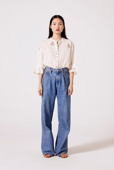 Countless charming handmade details in this blouse. Slow fashion at its most, truly a unique piece. Slow Fashion, Mom Jeans, Clothes For Women, Unique, Cotton, Pants, Handmade, Woman Clothing, Outfits For Women