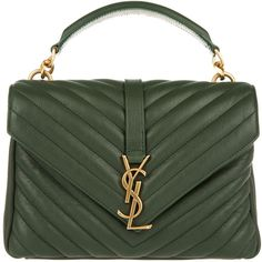 Saint Laurent YSL Monogramme MD College Bag Green in green Yves Saint Laurent Tasche, Saint Laurent Handbags, Yves Saint Laurent Bags, Green Shoulder Bags, Shoulder Handbags, Leather Shoulder Bag, Ysl Handbags, Purses And Handbags, Dior Purses