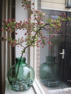 glazen vaas met bloesemtak
