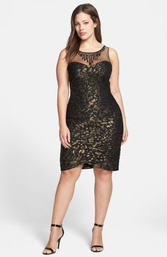 Adrianna Papell Metallic Pattern Shirred Sheath Dress (Plus Size)