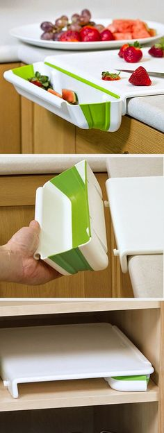 Cutting board with bin to catch scraps – stores flat