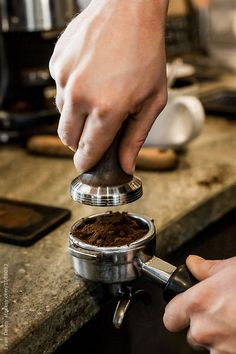 Barista Pressing Espresso Tamper by Evan Dalen for Stocksy United - Coffee Photography - coffee Recipes Coffee Barista, Coffee Cafe, Coffee Vodka, Street Coffee, Coffee Humor, Iced Coffee, Coffee Shot, Coffee Break, Morning Coffee