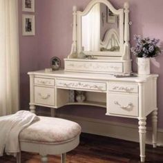 White Vanity With Mirror For Bedroom