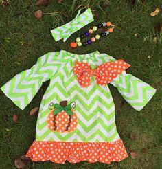 A Touch of Fall Chevron Pumpkin Dress 3 Piece Set