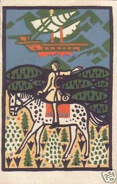 Oskar Kokoschka MAN RIDING HORSE Wiener Werkstatte #55