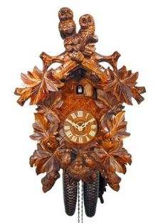 Amazon.com: German Cuckoo Clock 8-day-movement Carved-Style 18 inch - Authentic black forest cuckoo clock by August Schwer: Home & Kitchen