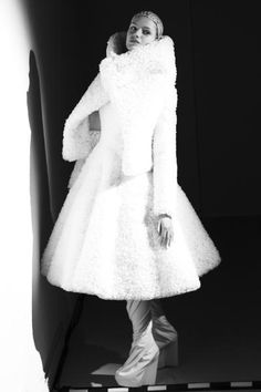 Sculptural Fashion - textured white dress & jacket with exaggerated silhouette // Gareth Pugh Fall 2014