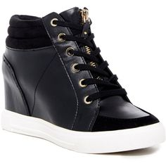 Aldo Etirevia Wedge Sneaker (1,090 MXN) ❤ liked on Polyvore featuring shoes, sneakers, black synthetic, black shoes, aldo shoes, black high tops, aldo sneakers and hi top wedge sneakers