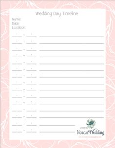 Worksheet Wedding Day Timeline Worksheet wedding guest list template pinterest 6 timeline tips and a free printable day norcal wedding