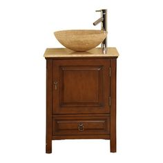 Silkroad Exclusive Osaka American Walnut Single Sink Vanity With Travertine  Top (Common: 22