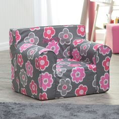 Here and There Personalized Kids Chair - Ikat Floral - The Here and There Kids Personalized Foam Chair- Ikat Floral is a chair to call all their own! This lightweight child-size lounging chair is a must fo...