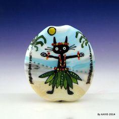 """THE BIG KITTY KAHUNA"" byKAYO a Handmade CAT Lampwork Art Glass Focal Bead SRA"