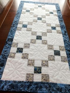 Patchwork quilted table runner blue gold and white by StephsQuilts