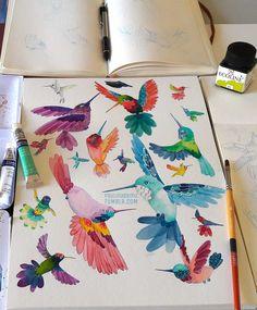 Art Credit: Paulina Beltrán @paulinabemu A lot of hummingbirds on my desk! / Muchos colibrís en mi escritorio Watercolor illustration / Ilustración en acuarela Cold press Canson paper / Papel Canson de grano fino 9 x 12 in 22,9 x 30,5 cm