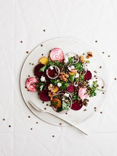Lentil and beet salad photography