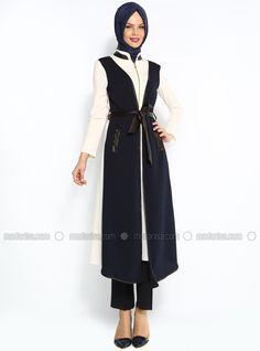 Çift Renkli Tunik - Krem-Lacivert - Dilay Moda