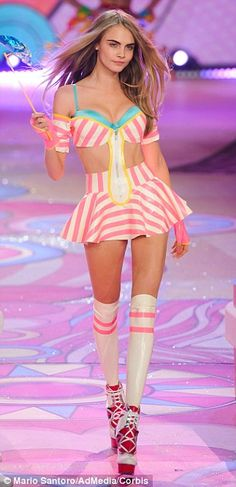 Former flame: Harry's Styles rumoured ex-girlfriend Cara Delevingne on the catwalk at Victoria's Secret