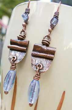 Copper Metalwork Earrings with Sapphire Blue Foil Glass and Hammered Coin Texture