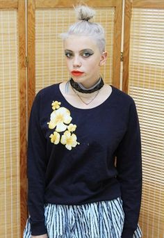For sale for by Pretty Disturbia on asosmarketplace! Hawaiian, Knitwear, Jumper, Asos, Vintage Fashion, Ruffle Blouse, Boutique, Navy, Floral