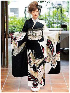 Black Kimono with butterflys