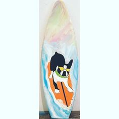 wood surf surfboard boston terrier pug pet dog portrait wall art sign decoration decor personalized with your favorite breed by SurfboardBeachArt on Etsy Portrait Wall, Dog Portraits, Beach Theme Wall Decor, Boston Terrier Pug, Surfboard Decor, Dog Signs, Letter Art, Watercolor Background, Art Sign