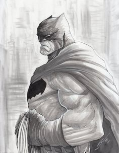 Exclusive black & white Batman art feat. an homage to Frank Miller's version of the Dark Knight by Gerardo Sandolav!