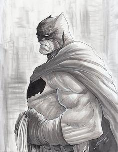 Exclusive black & white Batman art feat. an homage to Frank Miller's version of the Dark Knight by Gerardo Sandolav!