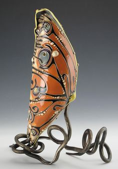 Ceramics, Carol Long, Chrysalis, collaboration with blacksmith Dustin Sypher